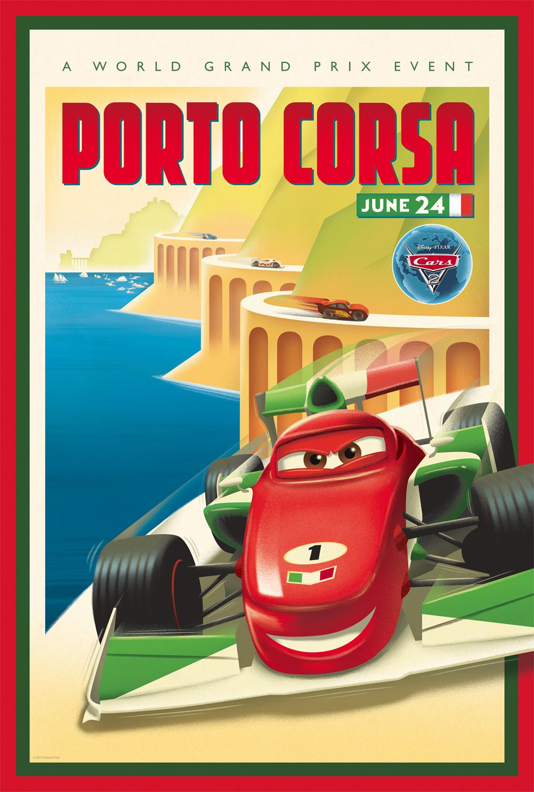 Cars 2 Vintage Poster Art - Porto Corsa - HeyUGuys