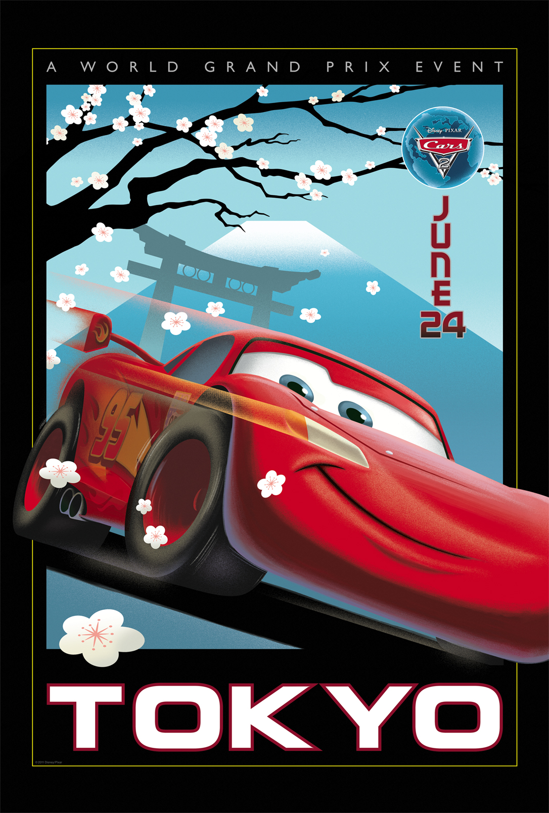 Cars 2 Vintage Poster Art - Tokyo - HeyUGuys