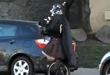 Darth Vader on a Unicycle Playing the Bagpipes