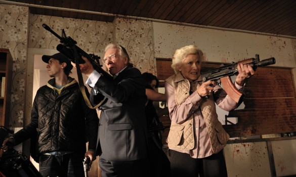Alan Ford and Honor Blackman in Cockneys vs Zombies
