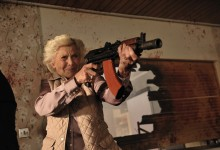 Honor Blackman with a Shotgun in Cockneys vs Zombies