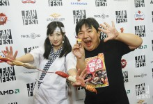 Director Noboru Iguchi, and stars Rina Takeda, and Eggy (the talking Sushi).  Photo by Jack Plunkett
