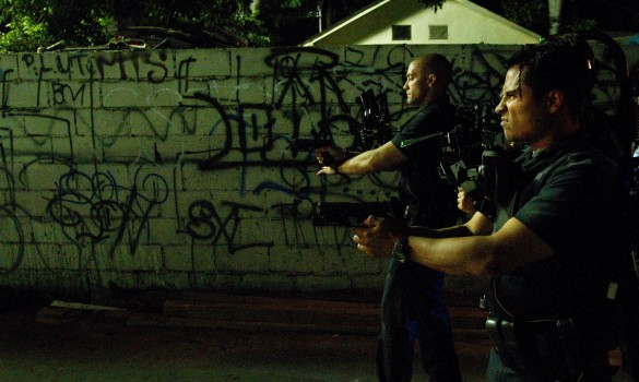 Jake Gyllenhaal and Michael Peña in End of Watch