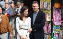 Olivia Wilde and Liam Neeson on set of The Third Person