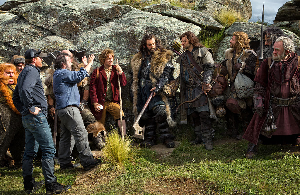 Peter Jackson And The Cast On Set In Hobbit An