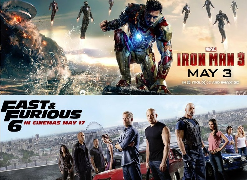 iron man 3 fast and furious 6 banner top 10 must see movies of may 2013 heyuguys. Black Bedroom Furniture Sets. Home Design Ideas