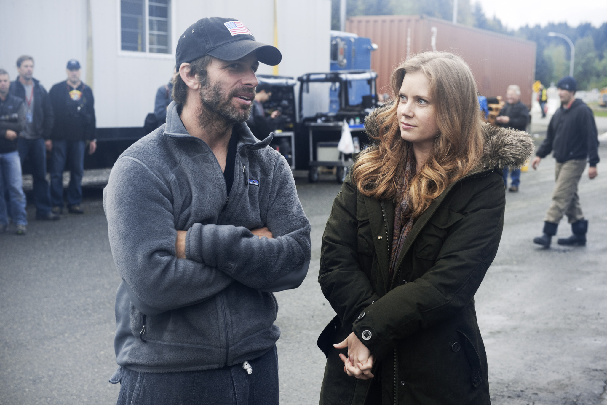Zack Snyder and Amy Adams on set of Man of Steel - HeyUGuys