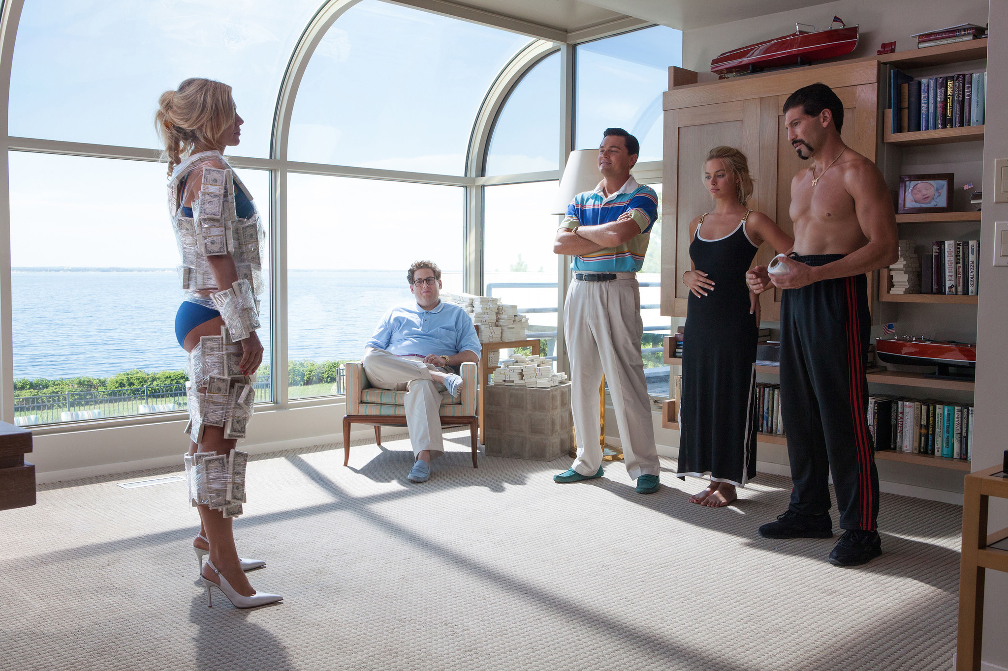Dicaprio margot robbie and jon bernthal in the wolf of wall street