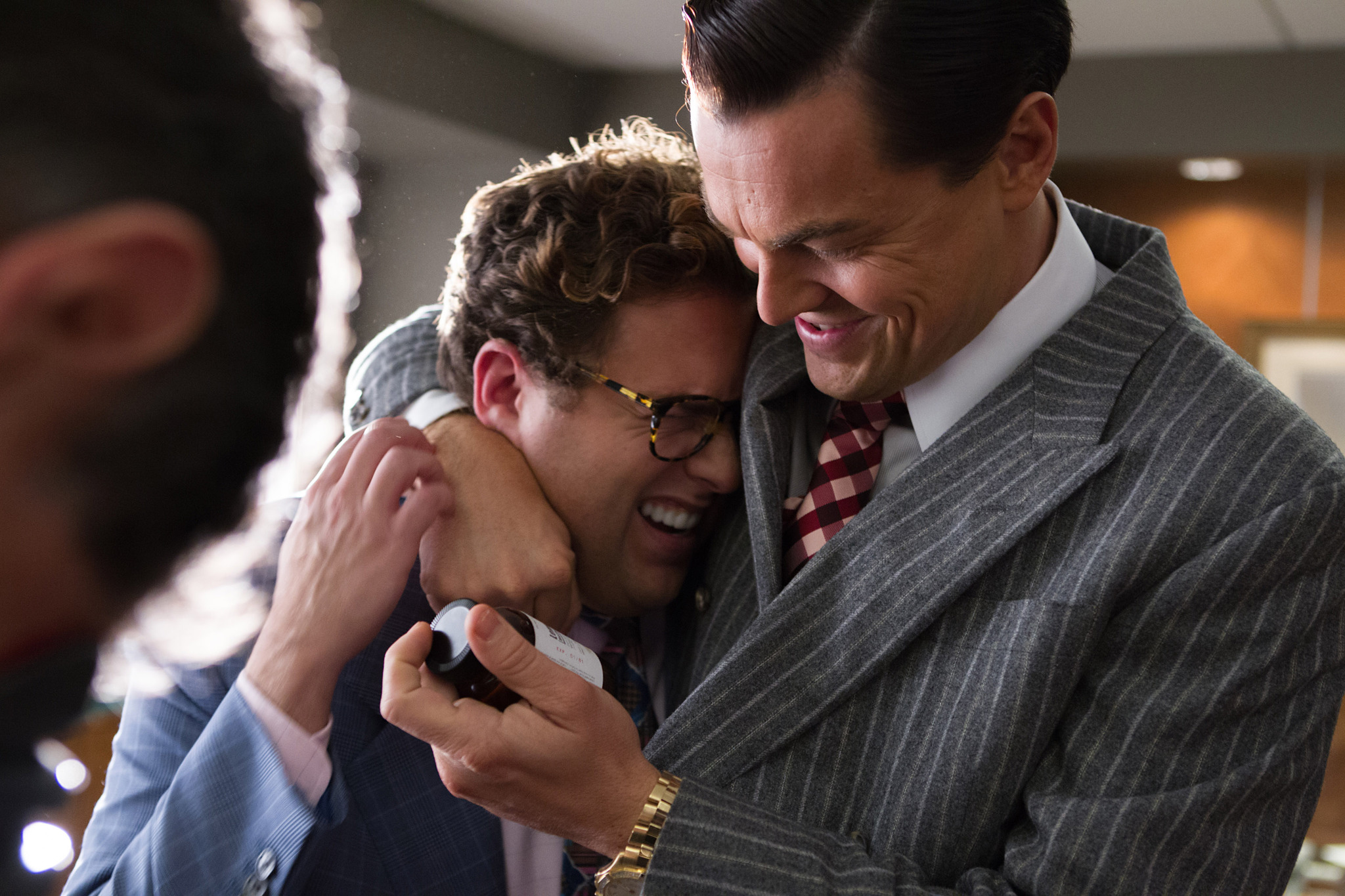 Jonah Hill and Leonardo DiCaprio in The Wolf of Wall ... Leonardo Dicaprio Wolf Of Wall Street Hair
