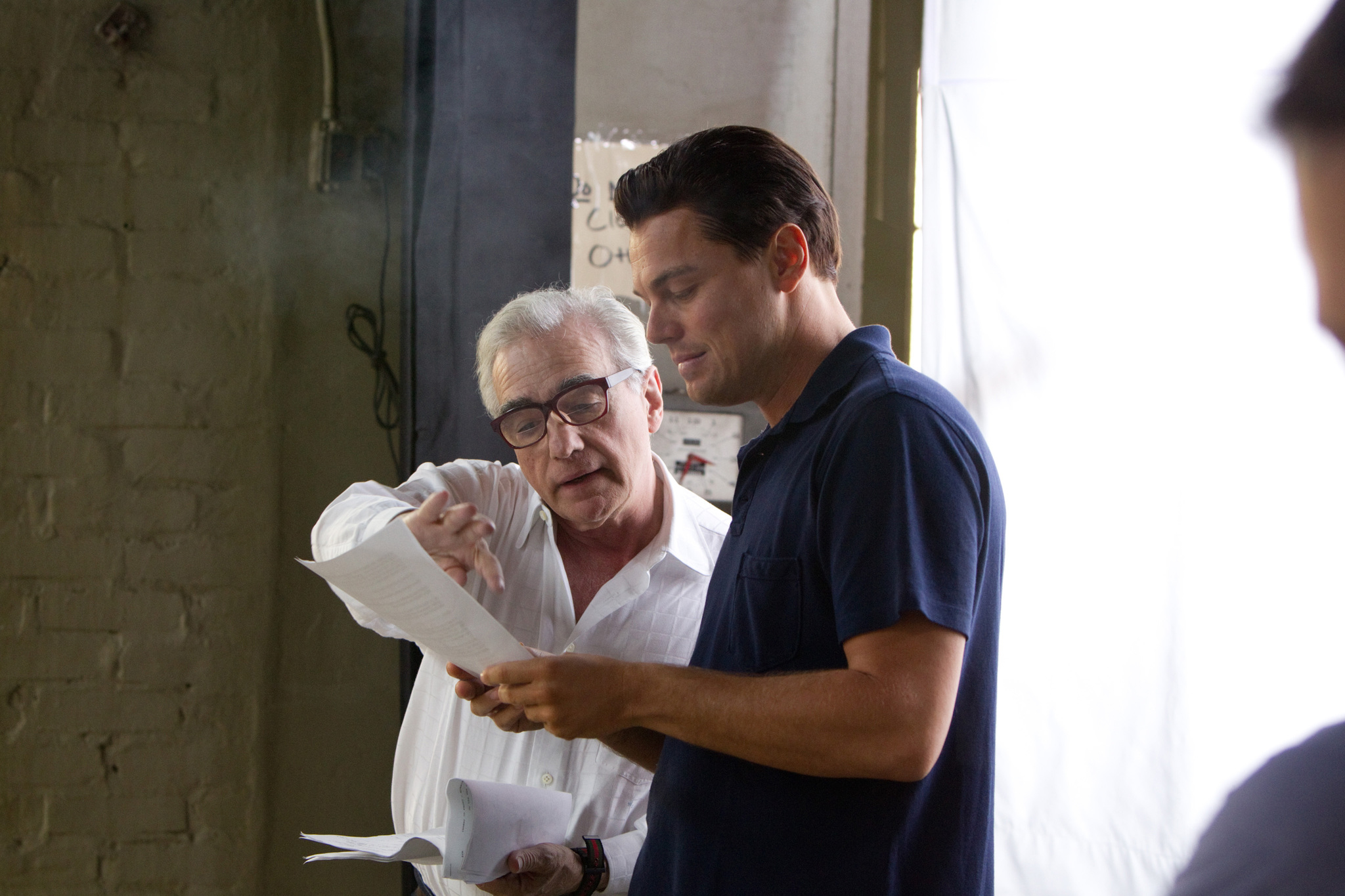 Scorsese and leonardo dicaprio on set of the wolf of wall street
