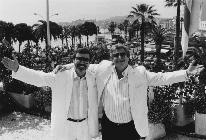 Israel film producers and directors Yoram Globus (left) and Menahem Golan, owners of