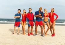 BAYWATCH movie cast on a beach as you'd expect