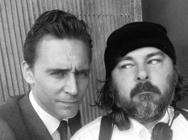 tom-hiddleston-and-ben-wheatley on the set of High Rise