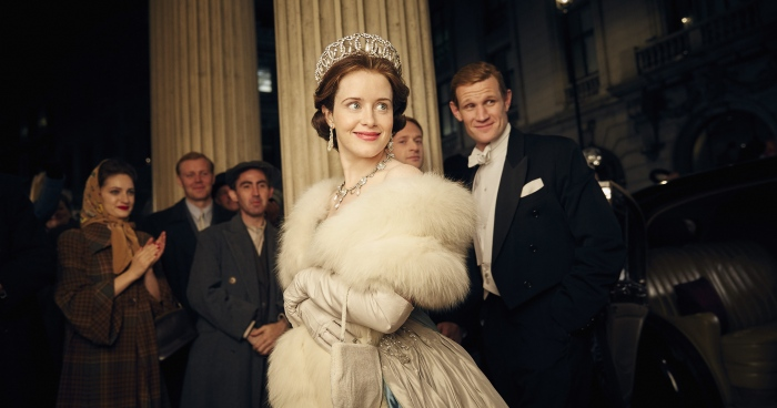 Claire Foy and Matt Smith in The Crown - Wins Golden Globe Award