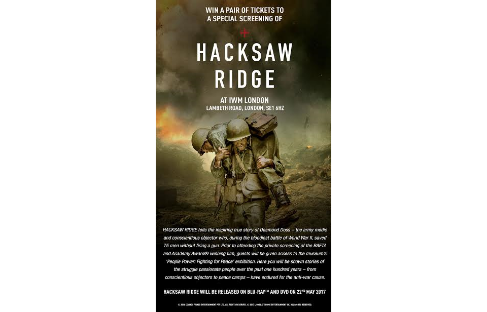 Win screening tickets for Hacksaw Ridge at the Imperial ...